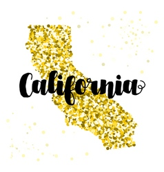 Golden glitter map of the state of california vector