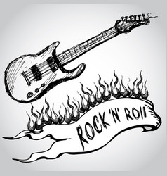 Guitar flames rock and roll vector