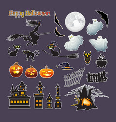 halloween stickers set pumpkin witch vector image