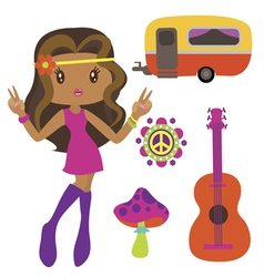 Hippie style clip art vector image vector image