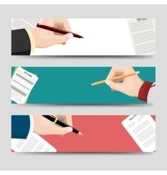 Horizontal banners template with signing document vector image vector image