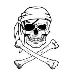 Jolly Roger pirate skull and crossbones vector image