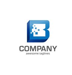 Letter b 3d box concept vector