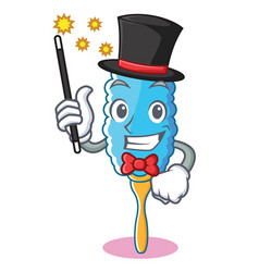 Magician feather duster character cartoon vector