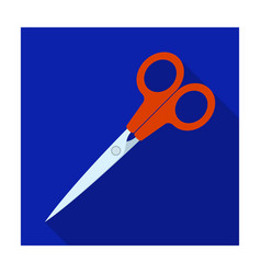 metal scissors with red handles school device vector image