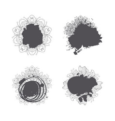 modern abstract hand drawn splash blob set vector image