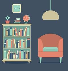 Modern design interior sofa and bookcase vector