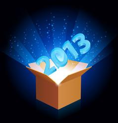 open cardboard box with twenty-thirteen the new vector image vector image