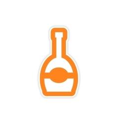 Paper sticker on white background bottle of vector