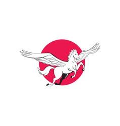 Pegasus flying horse cartoon vector