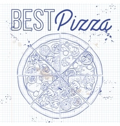 Pizza on a notebook page vector