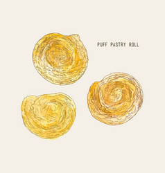 Puff pastry roll hand drawn sketch water color vector