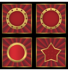 Red golden empty labels on striped background vector