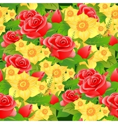 Seamless floral background of roses daffodils and vector
