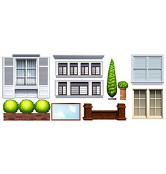 Set of different buildings and fences vector image vector image
