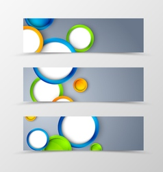 Set of header banner geometric design vector image