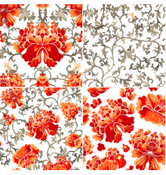 set of seamless patterns with red flowers and vector image