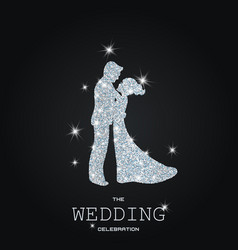 Silhouette of wedding couple with glitters vector