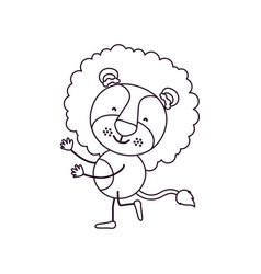 Sketch contour caricature with cute lion dancing vector