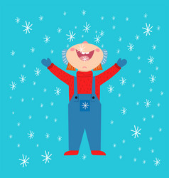 Snowflake kid weather traditional winter vector
