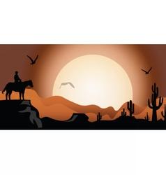 Sunset in the desert vector