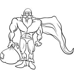 super hero santa coloring page vector image vector image