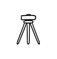 Theodolite on tripod sketch icon vector