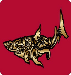 Golden shark ornament vector image