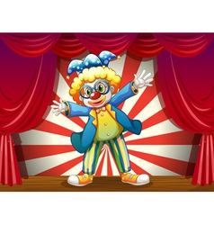 A stage with a funny clown vector image