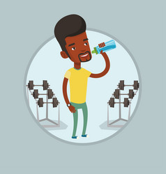 Sportive man drinking water vector