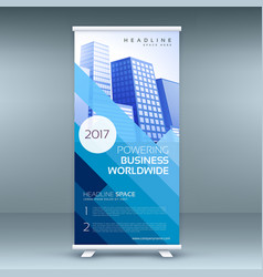 Blue elegant roll up banner template for vector