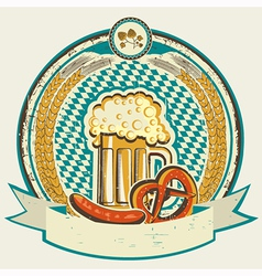 Vintage oktoberfest label with beer and food on vector