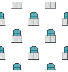 Balcony with a glass fence pattern flat vector