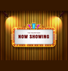 Theater sign retro on curtain with spotlight vector