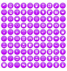 100 department icons set purple vector