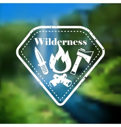 Decorative camping outdoor tourism emblem vector