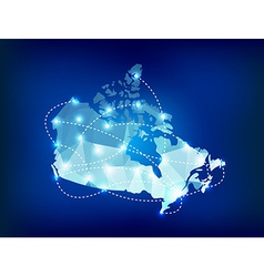 Canada country map polygonal with spot lights vector