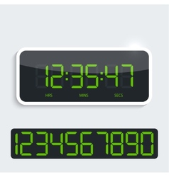 Digital clock with shiny plastic panel additional vector