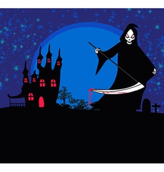 Grim reaper with halloween sign - vector