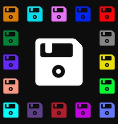 Floppy icon sign lots of colorful symbols for your vector