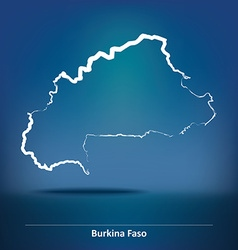 Doodle map of burkina faso vector
