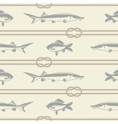 Fish and a rope pattern vector