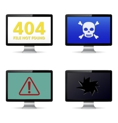 Technical failure message on computer screens vector