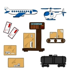 Air and rail freight service elements vector