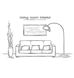 Sketchy of living room interior hand drawing vector