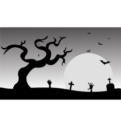 Halloween tomb and bat silhouette vector