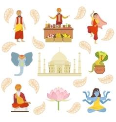 Yoga Taj Mahal And Other Indian Cultural Symbol vector image