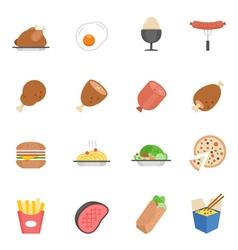 Lines icon set - western food vector