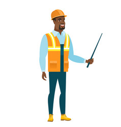 African-american builder holding pointer stick vector