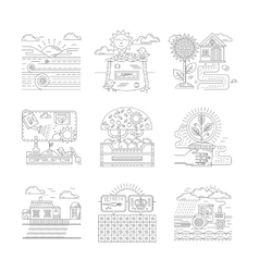 Agricultural farm icons set flat line style vector image